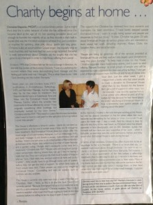 """The article form the """"FHT International Therapist"""" magazine March/April 2003 with cancer patient Lesley Moffat."""