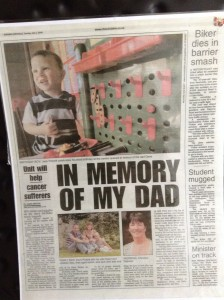"""Article from the """"Evening Chronicle"""" July 1st 2008 about the opening of the Emmanuel House summer house for children in memory of Dave Pickett who was one of my cancer patients."""