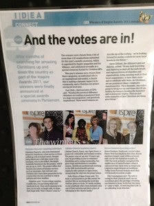 """Idea magazine"" article November 2011 when I received the Inspiring Individual Award at the Houses of Parliament in London."