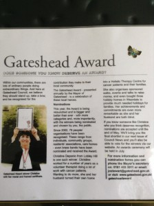 "Article from the ""Gateshead Council News"" July 2009 about receiving the Gateshead Award for outstanding services services to the community in Gateshead."